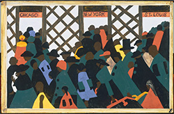 Jacob Lawrence, The Migration Series, No. 1: During World War I there was a great migration north by southern African Americans., 1940-41