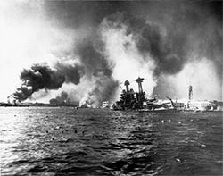 US Navy battleship USS California sinking alongside Ford Island, Pearl Harbor
