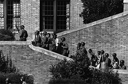 Soldiers escorting the Little Rock Nine into Central High School