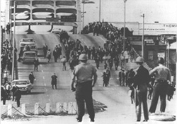 Demonstrators and police in Selma, Alabama