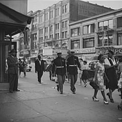 Roger Smith, New York, New York. Street scene in Harlem (Two Marines), 1943